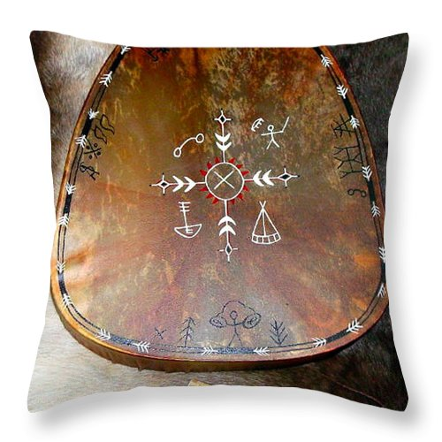 Saami Throw Pillow featuring the photograph Sami Shaman Drum by Merja Waters
