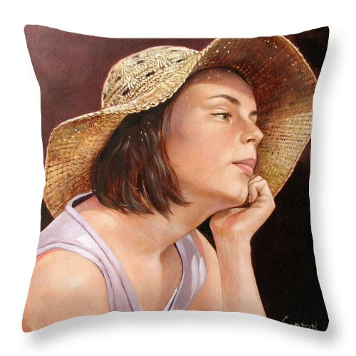 Portrait Throw Pillow featuring the painting Sammie by Jerrold Carton