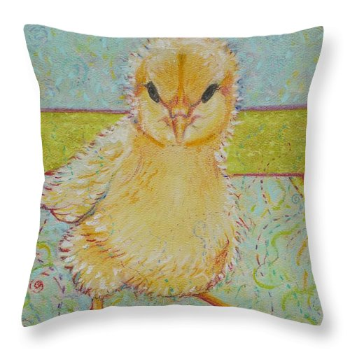 Chick Throw Pillow featuring the pastel Sammy Peeps by Christine Belt