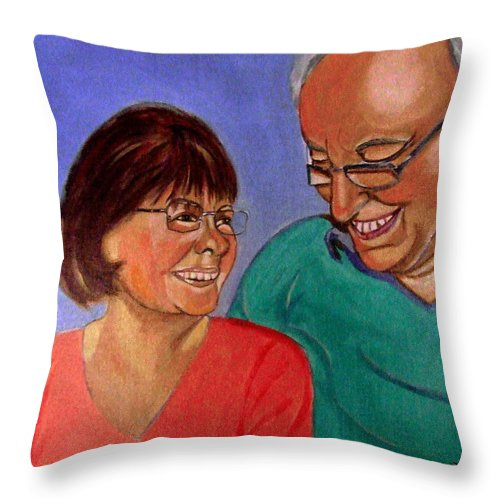 Relationships Throw Pillow featuring the painting Samson And Delia by Rusty Gladdish