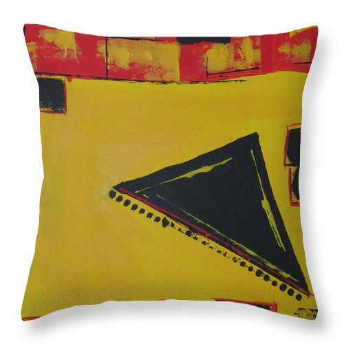Asian Orient Honor Courage Power Red Black Yellow Gate Abstract Throw Pillow featuring the painting Samurai Honor by Sharyn Winters