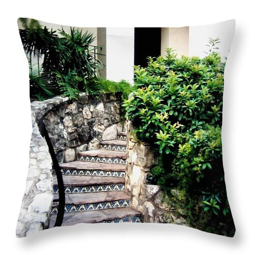 San Antonio Stairway Throw Pillow featuring the photograph San Antonio Stairway by Will Borden