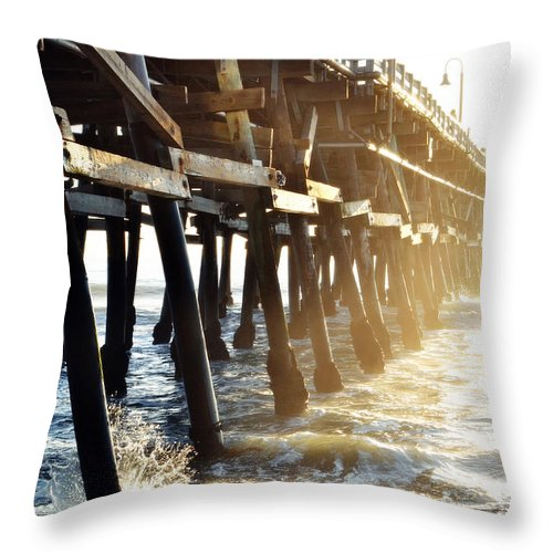 San Clemente Throw Pillow featuring the photograph San Clemente Pier Magic Hour by Kyle Hanson