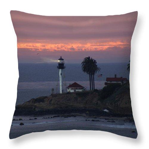 San Deigo Throw Pillow featuring the photograph San Diego Lighthouse by Heather Coen