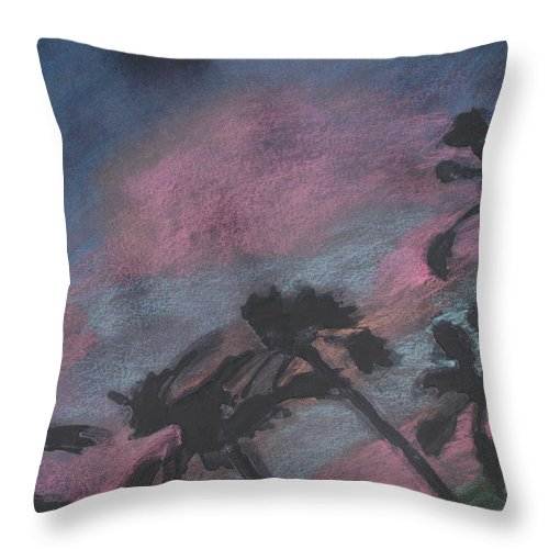 Contemporary Tree Landscapes Throw Pillow featuring the drawing San Diego Palms by Leah Tomaino