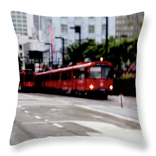 Red Trolley Throw Pillow featuring the photograph San Diego Red Trolley by Linda Shafer