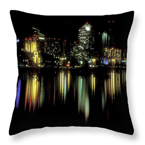 San Diego Skyline Throw Pillow featuring the photograph San Diego Skyline by Sandra Bronstein