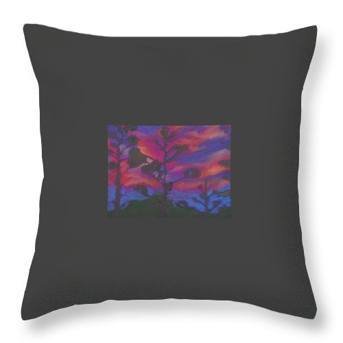 Contemporary Tree Landscape Throw Pillow featuring the mixed media San Diego Sunset by Leah Tomaino