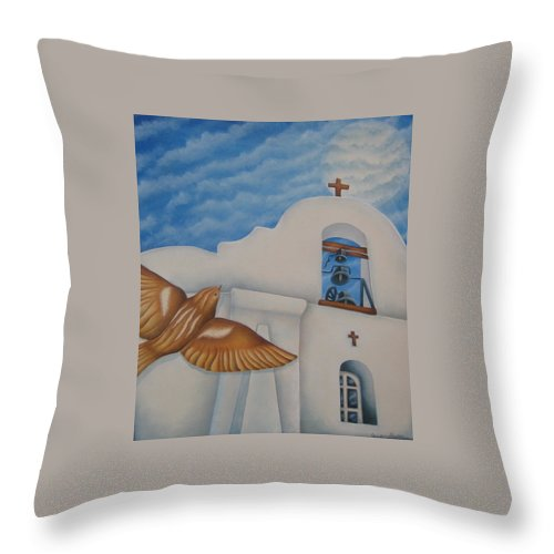 Sparrow Throw Pillow featuring the painting San Elizario On A Moonlit Morning by Jeniffer Stapher-Thomas
