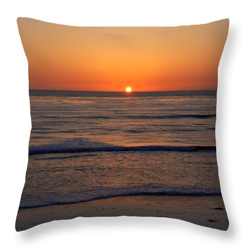 Sunset Throw Pillow featuring the photograph San Eljio Sunset Ca by Susanne Van Hulst