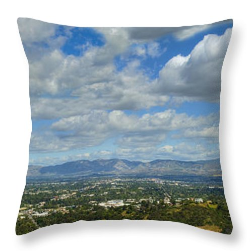 San Fernando Valley Throw Pillow featuring the photograph San Fernando Valley Panorama by David Zanzinger