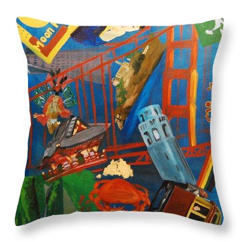 Golden Gate Bridge Throw Pillow featuring the painting San Fran by Lauren Luna