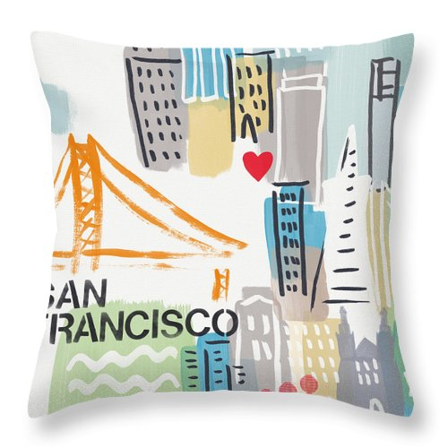 San Francisco Throw Pillow featuring the painting San Francisco Cityscape- Art By Linda Woods by Linda Woods