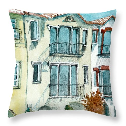 California Throw Pillow featuring the painting San Francisco by Lynn Babineau
