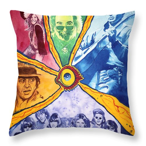 Janis Joplin Throw Pillow featuring the painting San Francisco Rock by Ken Meyer jr