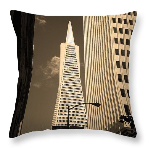 America Throw Pillow featuring the photograph San Francisco - Transamerica Pyramid Sepia by Frank Romeo
