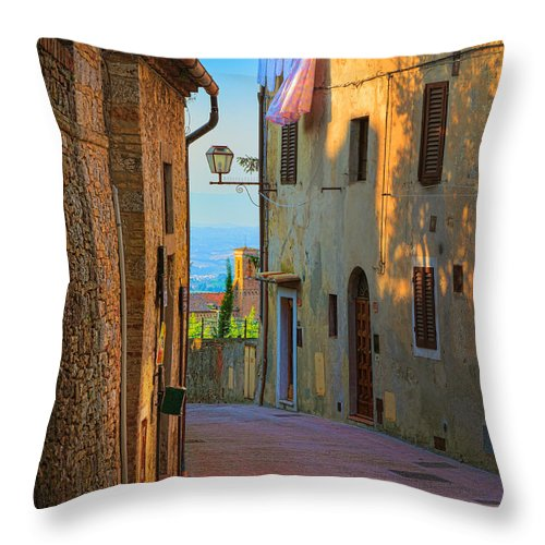 Europe Throw Pillow featuring the photograph San Gimignano Alley by Inge Johnsson