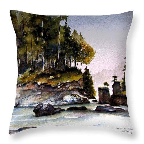 San Josef Bay Throw Pillow featuring the painting San Josef Bay by Marti Green