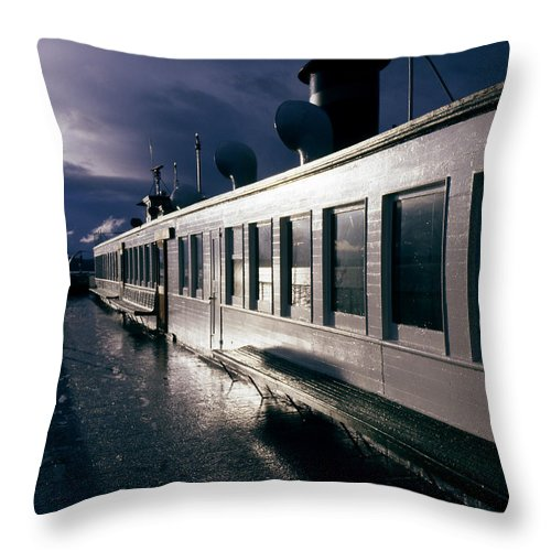 Scenic Throw Pillow featuring the photograph San Juan Islands Ferry by Lee Santa