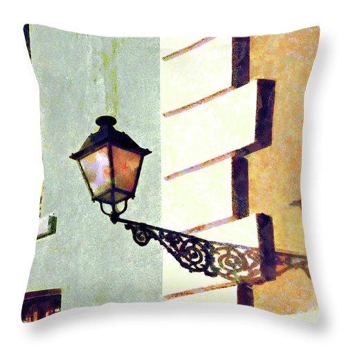 San Juan Throw Pillow featuring the photograph San Juan Street Lamp by Susan Savad