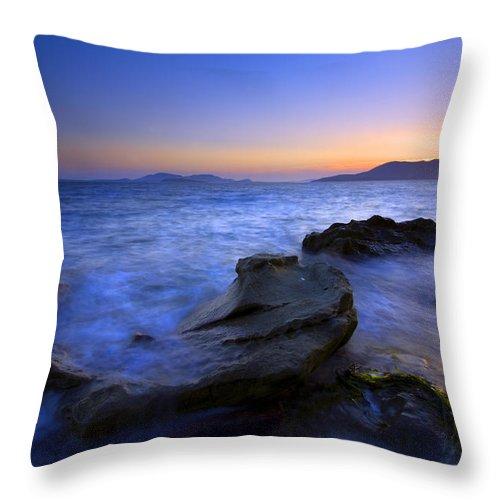 Sunset Throw Pillow featuring the photograph San Juan Sunset by Mike Dawson
