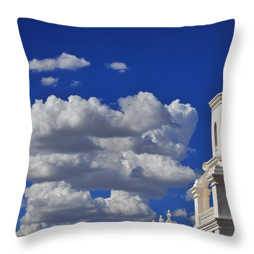 San Xavier Throw Pillow featuring the photograph San Xavier by Skip Hunt