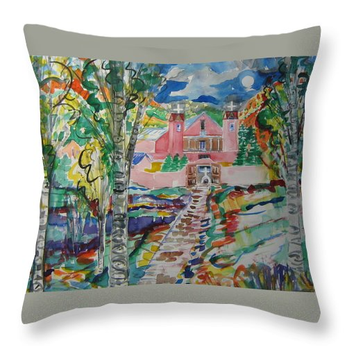 New Mexico Churches Chimayo Sanctuario Sacred Dirt Throw Pillow featuring the painting Sanctuario At Chimayo New Mexico by Laurie Hill Phelps