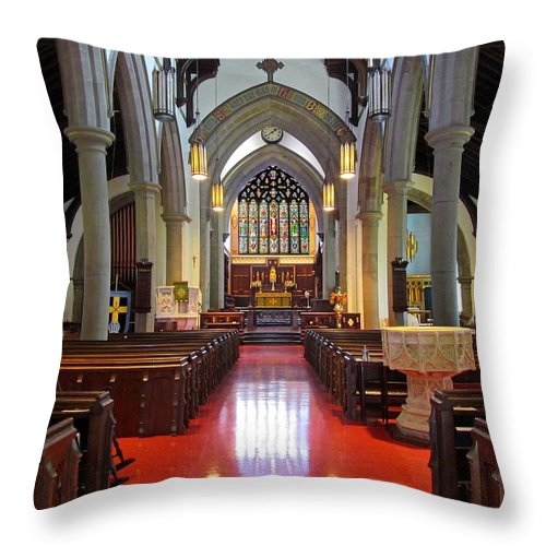 Christ Church Cathedral Fredericton Throw Pillow featuring the photograph Sanctuary Christ Church Cathedral 1 by Mark Sellers