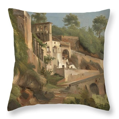 Andr� Giroux (1801 - Paris - 1879) Throw Pillow featuring the painting Sanctuary Dell'avvocatella In Cava De 'tirreni by Celestial Images