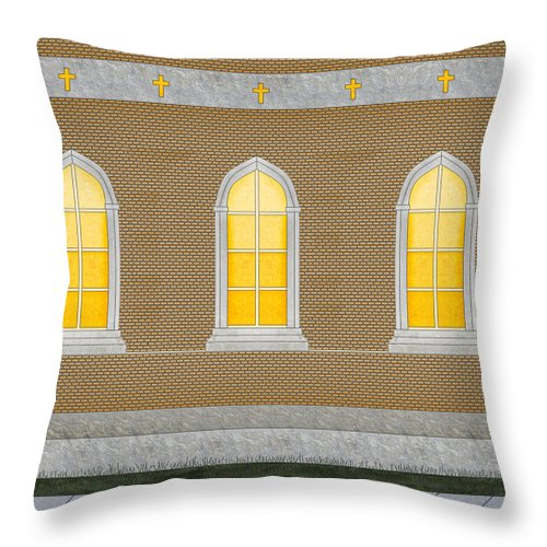 Church Throw Pillow featuring the painting Sanctuary Windows And Walls by Anne Norskog