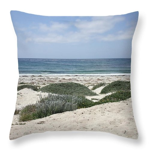 Sandy Beach Throw Pillow featuring the photograph Sand And Sea by Carol Groenen