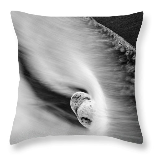 Rock Throw Pillow featuring the photograph Sand And Sea by Mike Dawson
