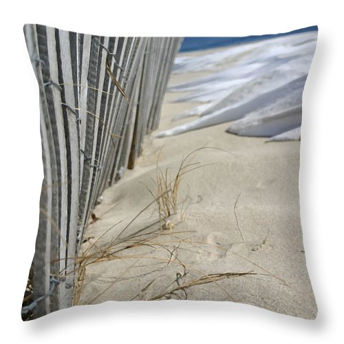 Seascape Throw Pillow featuring the photograph Sand And Snow by Mary Haber