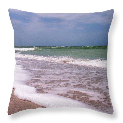 Beach Sand Foam Surf Water Ocean Waves Throw Pillow featuring the photograph Sand And Surf by Anna Villarreal Garbis