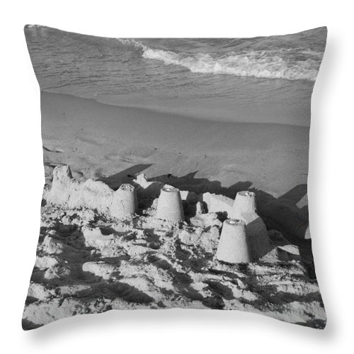 Sea Scape Throw Pillow featuring the photograph Sand Castles By The Shore by Rob Hans