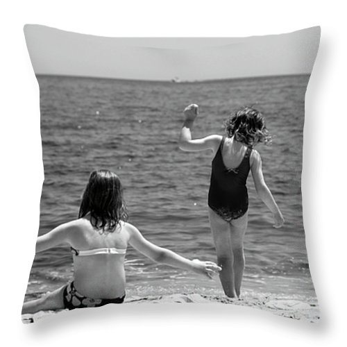 Girl Throw Pillow featuring the photograph Sand Dancers by Michelle Constantine