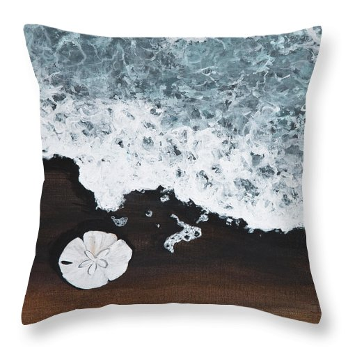 Darice Machel Mcguire Throw Pillow featuring the painting Sand Dollar by Darice Machel McGuire