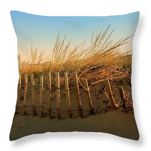 Jersey Shore Throw Pillow featuring the photograph Sand Dune In Late September - Jersey Shore by Angie Tirado