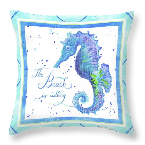 Seahorse Throw Pillow featuring the painting Sand 'n Sea - Seahorse The Beach Is Calling by Audrey Jeanne Roberts