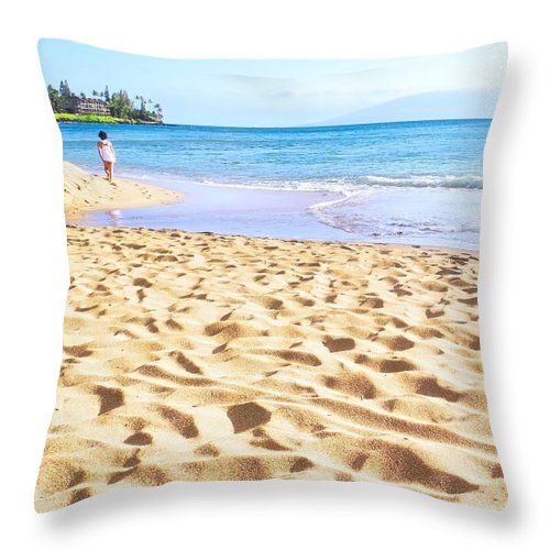 Maui Throw Pillow featuring the photograph Sand Sea and Shadows by Kirsten Giving