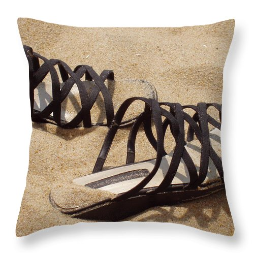 Shoes Throw Pillow featuring the photograph Sand Shoes I by Deborah Crew-Johnson