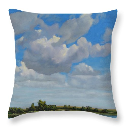 Landscape Painting Throw Pillow featuring the painting Sandbar Slough July Skies by Bruce Morrison