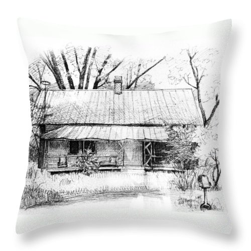 Landscape Throw Pillow featuring the drawing Sandersville Road Farmhouse by Peter Muzyka