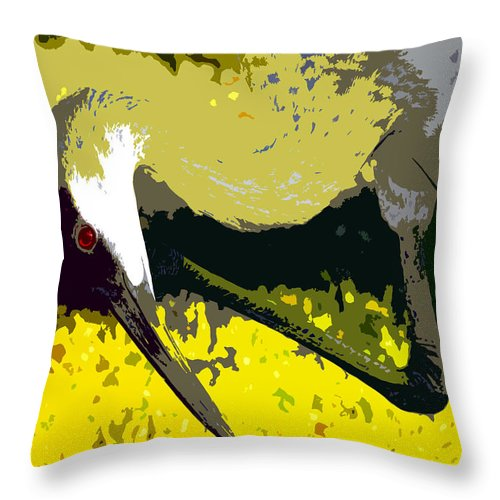 Sand Hill Crane Throw Pillow featuring the painting Sandhill Scratching by David Lee Thompson
