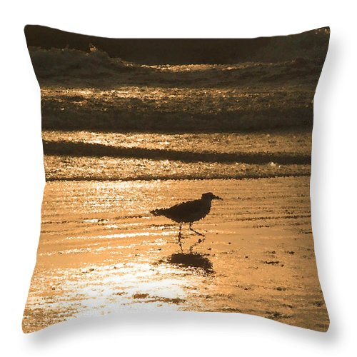Nature Throw Pillow featuring the photograph Sandpiper by Peg Urban