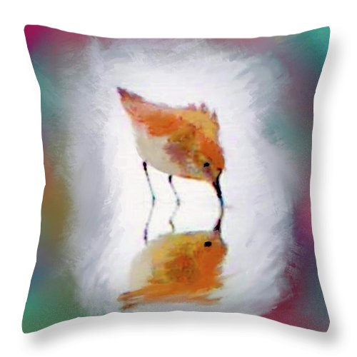 Sandpiper Reflection Throw Pillow featuring the photograph Sandpiper Reflection by Susan Garren