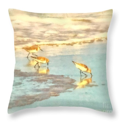 Seascape Throw Pillow featuring the photograph Sandpipers Along The Shoreline by Betsy Foster Breen