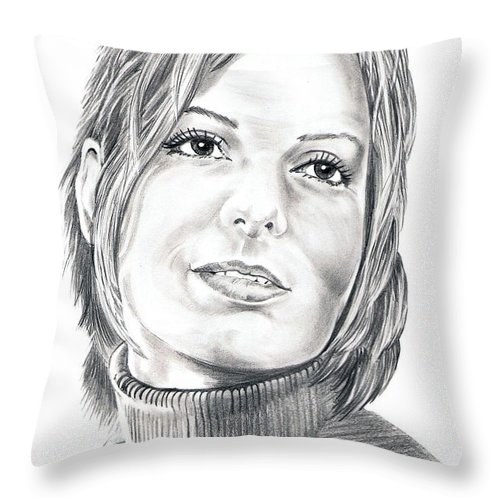 Drawing Throw Pillow featuring the drawing Sandra Bullock by Murphy Elliott