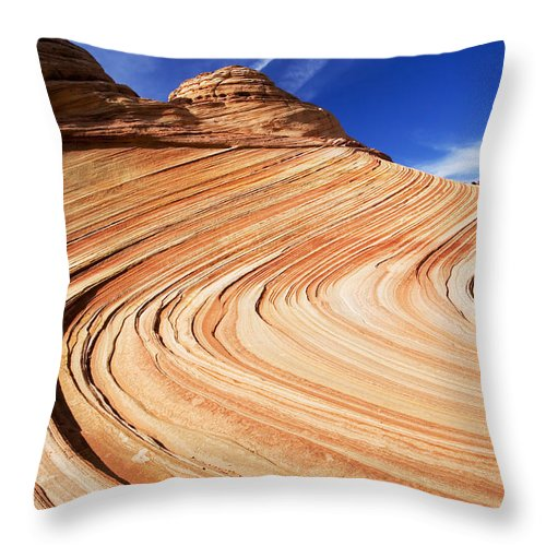 The Wave Throw Pillow featuring the photograph Sandstone Slide by Mike Dawson