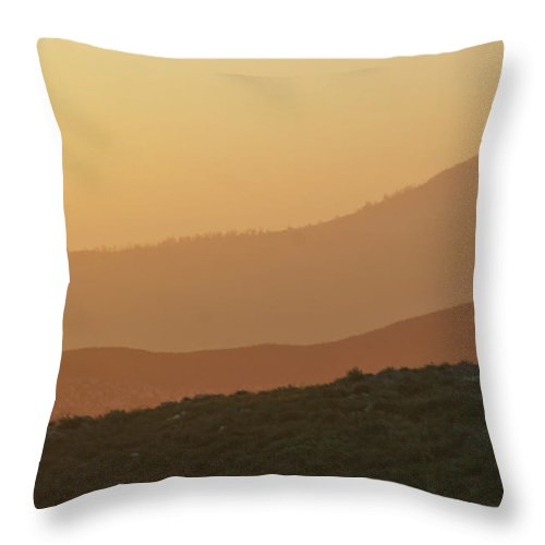 Sandstorm Throw Pillow featuring the photograph Sandstorm During Sunset On Old Highway Route 80 by Christine Till